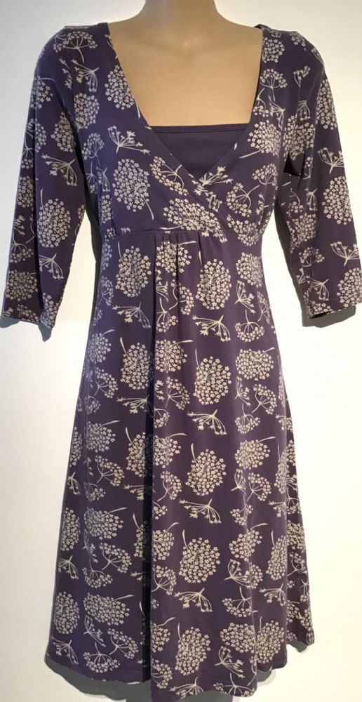FRUGI PURPLE FLORAL CROSS OVER FRONT MATERNITY & NURSING DRESS SIZE M 12